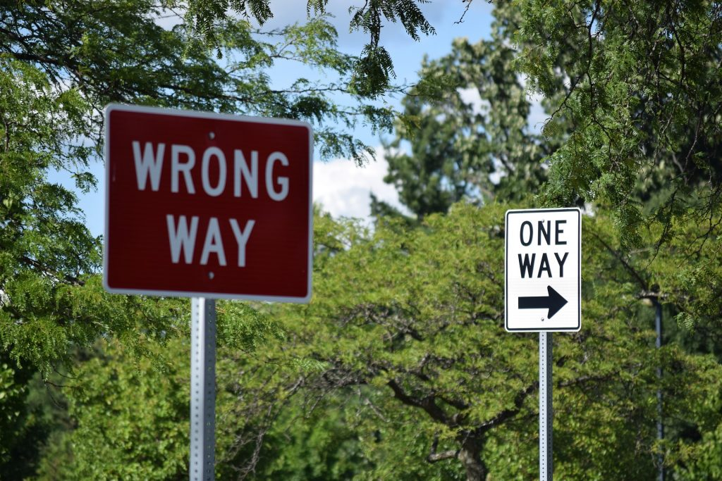 ONLY the OBEDIENT Enter In--Those who love Me, obey. (Image: Wrong Way sign)
